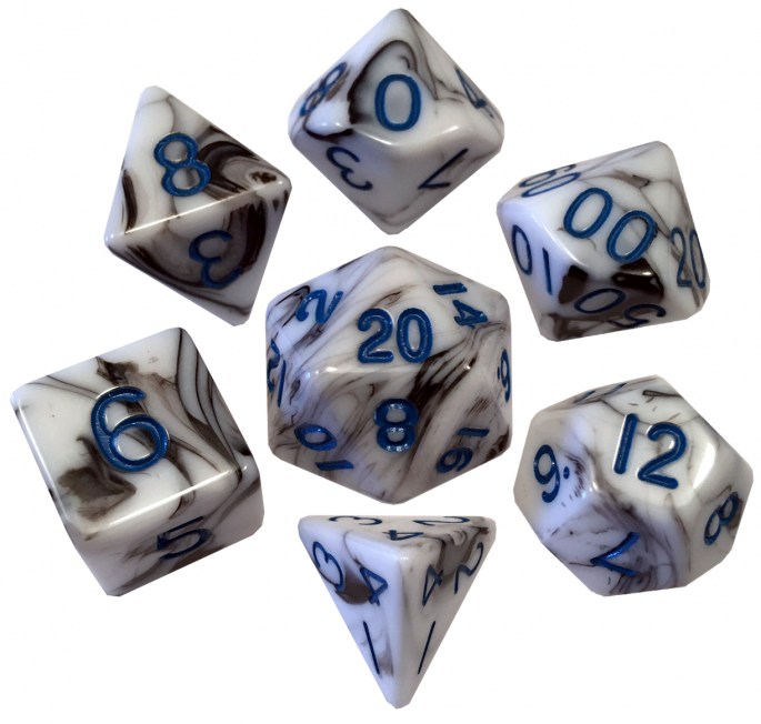 White and Black Marble with Blue Numbers Poly Dice Set