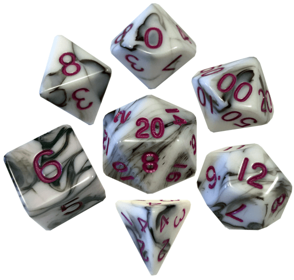 White and Black Marble with Pink Numbers Poly Dice Set