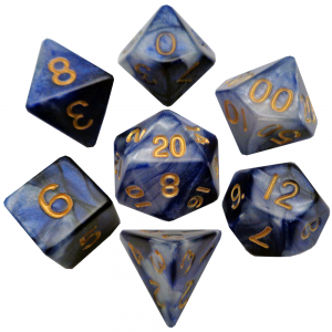 Blue and White Poly Dice Set