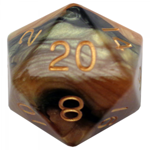 Black and Yellow D20 Mega Acrylic
