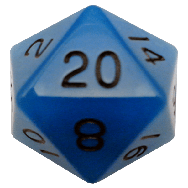 Glow In The Dark Blue D20 Mega Acrylic