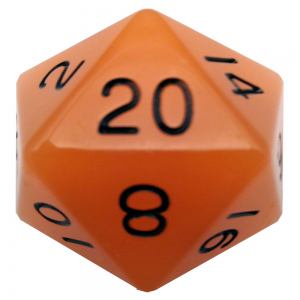 Glow In The Dark Orange D20 Mega Acrylic