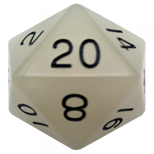 Glow In The Dark Clear D20 Mega Acrylic