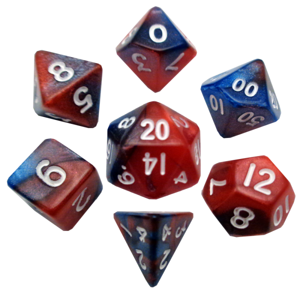 Blue and Red Mini Poly Dice Set