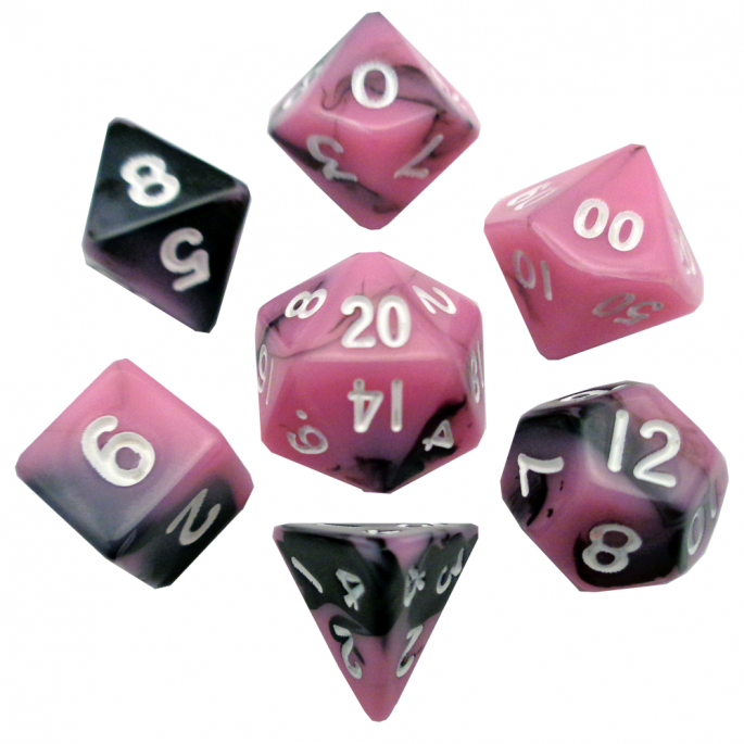 Pink and Black Mini Poly Dice Set