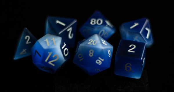 Cat's Eye Frosted Blue: Full-Sized 16mm Polyhedral Set