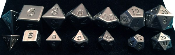 Silver Metal Dice Regular and Mini