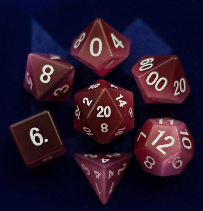 Cat's Eye Pink: Full-Sized 16mm Polyhedral Set