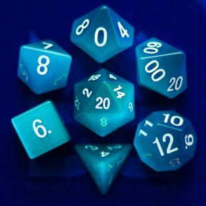 Gemstone Cats Eye Aquamarine Printed Dice Set