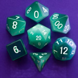 Cat's Eye Mint Green: Full-Sized 16mm Polyhedral Set