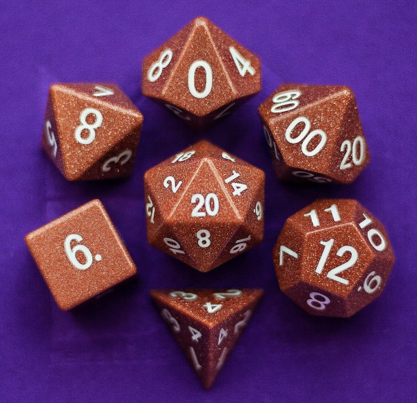 Goldstone: Full-Sized 16mm Polyhedral Set