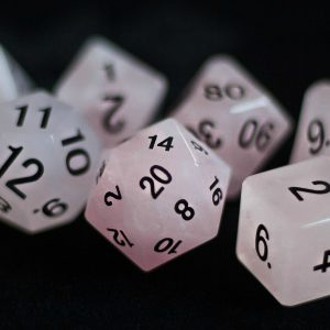 Rose Quartz: Full-Sized 16mm Polyhedral Set