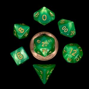 Green with Gold Numbers 10mm Mini Poly Dice Set