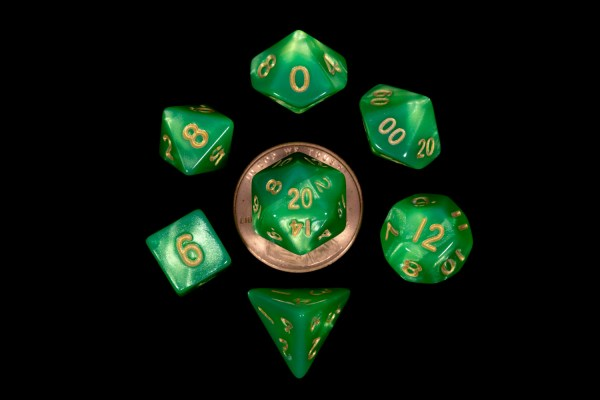 Green with Gold Numbers10mm Mini Poly Dice Set