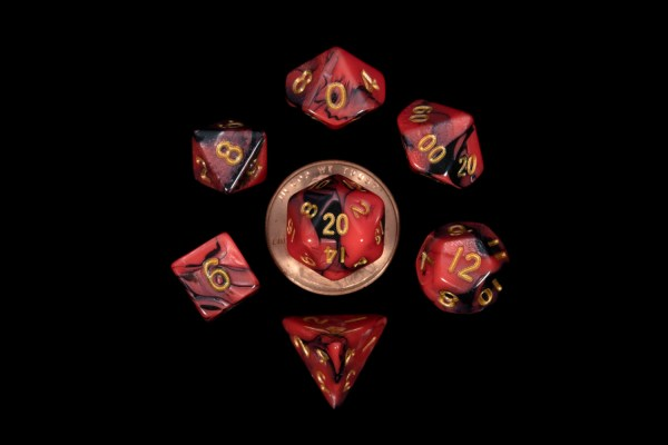 Black and Red Marble with Gold Numbers16mm Mini Poly Dice Set