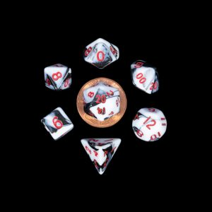 White and Black Marble with Red Numbers Mini Poly Dice Set