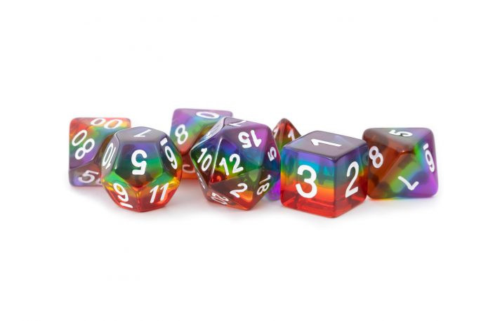 Rainbow (Clear) 16mm Poly Dice Set