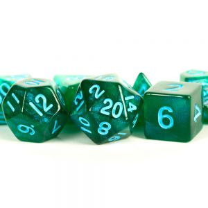 Stardust Green with Blue Numbers 16mm Polyhedral Dice Set