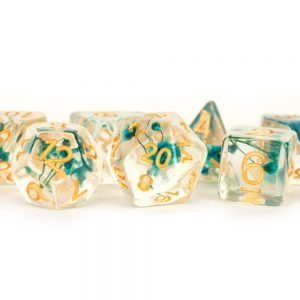 Baby's Breath Green Flowers Clear with Gold Numbers 16mm Resin Poly Dice Set