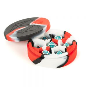 Red, Black and White Silicone Round Dice Case