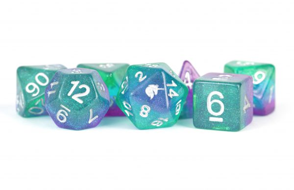 Unicorn Aurora 16mm Poly Dice Set