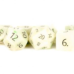 Engraved Jade: Full-Sized 16mm Polyhedral Dice Set