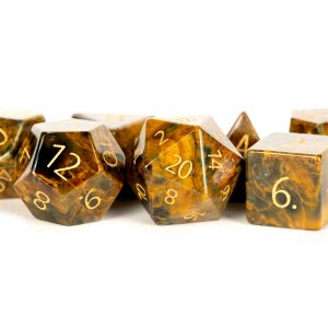 Engraved Matrix Tiger's Eye: Full-Sized 16mm Polyhedral Dice Set
