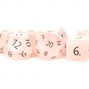 Engraved Rose Quartz: Full-Sized 16mm Polyhedral Dice Set