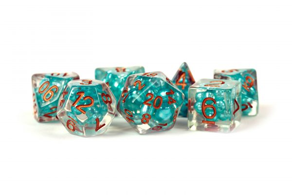 Pearl Dice Teal with Copper Numbers 16mm Resin Poly Dice Set