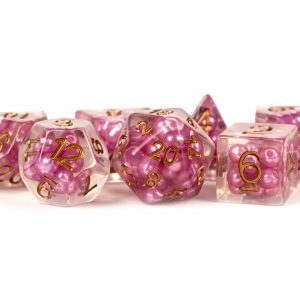 16mm Resin Pearl Dice Poly Set: Pink with Copper Numbers