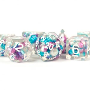 Pearl Dice Gradient Purple, Teal, White with White Numbers 16mm Resin Poly Dice Set