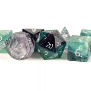 Rainbow Fluorite Full-Sized 16mm Polyhedral Dice Set