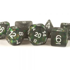 Icy Opal 16mm Resin Poly Dice Set: Black with Silver Numbers