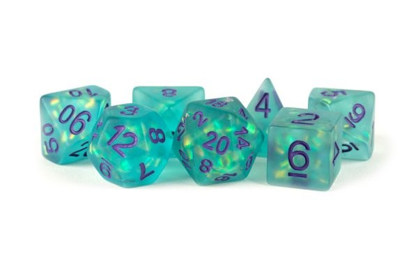 Icy Opal 16mm Resin Poly Dice Set: Teal with Purple Numbers