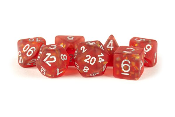 16mm Resin Poly Dice set in the color red on a white background